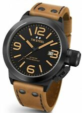 Mens TW Steel 45mm Canteen Brown Leather Black Dial Case Date Quartz Watch CS41