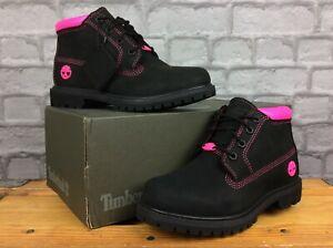 TIMBERLAND LADIES NELLIE CHUKKA DOUBLE BLACK PINK NUBUCK BOOT RRP £130 T