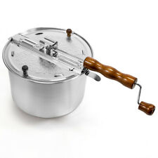 Hand Crank Stirring Stovetop Popcorn Maker Popper Stove Top w/ Wooden Handle