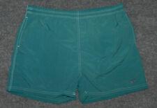 "vintage Hang Ten 80s Hang 10 Swim Trunk Short 4"" Ins Teal w/ Feet sz L shorts"