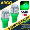 Bright Smd Led Xenon Power Side Light 501 W5w 158 168 T10 Super Green Bulbs 12v