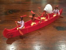 Timpo Indian War Canoe - Red / Cream / Lilac - Wild West - 1970's