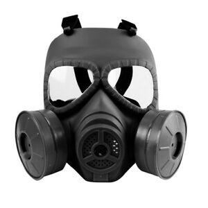 Tactical Glass Full Face CS Wargame Airsoft Paintball Dummy Gas Mask W/ Fan