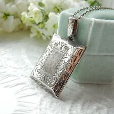 Large Vintage Sterling Silver Square Locket Silver Love Token Jewelry