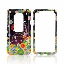 For Sprint HTC EVO 3D Protector HARD Case Snap Phone Cover Flower Art
