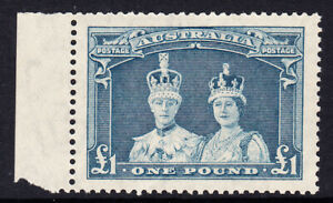 AUSTRALIA 1938-£1 Coronation Robes with LH selvedge. C of A wmk unsurfaced paper