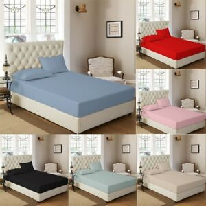 Fitted Sheet Set 30cm Deep 100% Cotton Percale With FREE PILLOW CASES
