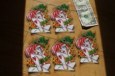 Sexy Naughty RedHead Irish Girl Fire Woman 5in. Clear Vinyl STICKER - Lot of 5