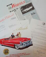 Cadillac 1953 Eldorado GM Motorama Franklin Mint Sales Brochure Catalog Sheets