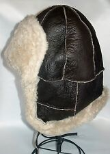 NEW Brown Sheepskin Bomber Aviator Trapper Warm Hat, Unisex Real Leather Earflap