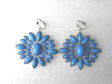 Huge Silver/Blue Flower Clip-on Earrings