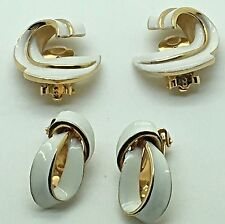 Kramer Trifari Clip On Earrings White Enamel Swirl Bow Ribbon Gold Tone MCM