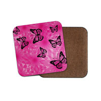 Purple Print Butterflies Coaster - Flowers Floral Fun Pink Pretty Gift #15604