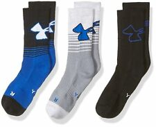 3 Pair Under Armour Training Kids Crew Socks Shoe Size 4y-8y Blue Black L13