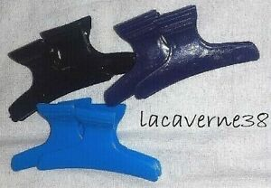 6 Pinces à cheveux brushing 75mm crabe barrette accessoire bleu violet noir