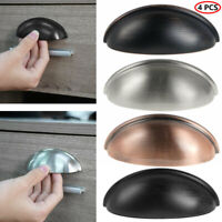 4 Cabinet Bin Semi-circular Shell Cup Drawer Handles Pulls Door Knobs w/Screws