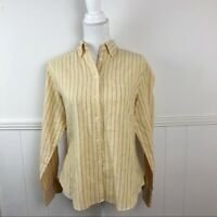 Vintage Ship'n Shore Yellow Long Sleeve Button Down Shirt Women Size 14