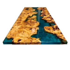 Green Epoxy Table Walnut Wooden Decor Resort Table Top Dining Room Table Decors
