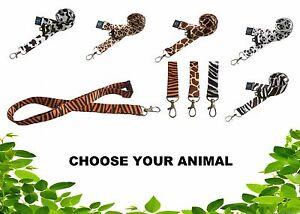Animal Print Lanyard , Giraffe , Cheetah , Zebra , Cow , Panda Tiger - USA SHIP