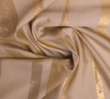 Übergardinenstoff Dunkelem Cream Gold Ton mit Streifen