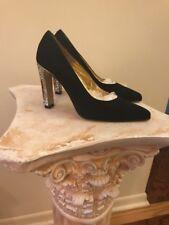VTG FRANK MORA for JACOBSON'S BLACK RHINESTONE-beaded high heels shoes 7.5