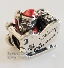 SLEIGHING SANTA Authentic PANDORA Red Enamel CHRISTMAS Charm 792004CZ w POUCH!