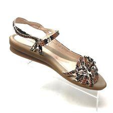 Beautifeel KALI Snake Embossed Leather Flat Sandal Womens Shoe SIZE 39 / 8 - 8.5