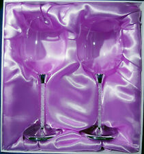 Wedding/Bridal Toasting Wine Goblets with Austrian Crystal filled Stems.