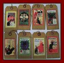 French Poster Art And Black Cats - Vintage Look Hang Tags