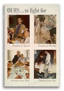 "36""x54"" - 1943 ""Ours To Fight For"" Normal Rockwell Vintage Style WW2 Poster"
