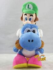 9inch Super Mario Bros. Luigi Riding On Blue Yoshi Stuffed Animal Toy