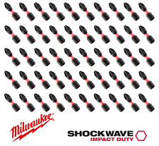 "New Milwaukee 1"" 25mm PZ2 50 Screwdriver Bits Pozi 2 Drill Shockwave Impact Duty"