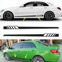 2x Car Body Sticker Decals Side Skirt Door Vinyl Racing Long Stripes Decor DIY #