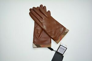 NWT BURBERRY LEATHER HOUSECHECK TRIM JENNY TOUCH GLOVES SZ 7.5