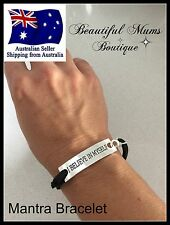 Mantra Inspiration Motivation Bracelet Rope Black Cord Silver Believe Gift Cute
