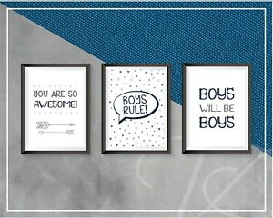 Boys Bedroom Prints Wall Art Decor Boys Rule You are so Awesome Grey Navy A4 Set
