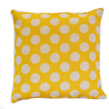 Yellow Polka Dots Kids Nursery Geometric Cotton Linen Cushion Cover Pillow Case