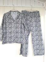 Hotel Spa Flannel Pajamas Sleepwear Set Black/White Plus SZ 1X NWOT 100% Cotton