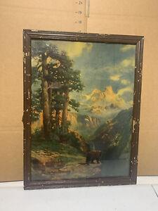 "Vintage Robert Atkinson Fox Print Gouache Painting 13""x 19"" - BEAR IN WILDERNESS"