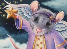 ACEO Limited Edition Print Christmas Angel Mouse Catching Star by J. Weiner