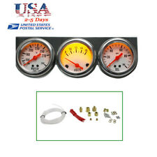 Universal Chrome Oil Pressure Water Volt Triple 3 Gauge Set Car Gauges Kit FDA