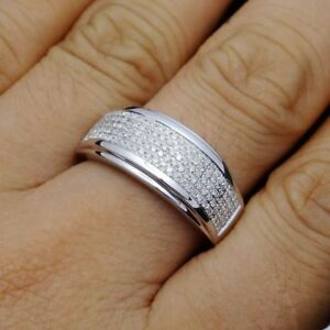 10K White Gold Finish Round Party Jewelry Man Band Wedding 1.00 CT Diamond Ring