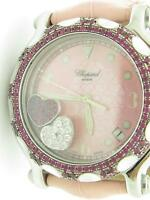 Chopard Happy Sport Pave Heart Floating Diamonds Red Ruby Bezel Watch w/3 Straps