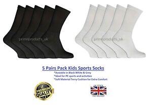 5 Pairs Kids Boys Girls Unisex Sports Black White Grey Socks Trainer PE Activity