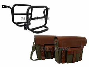 Royal Enfield Classic 500cc Leather & Canvas Bag With Fitting Frame Olive Color