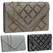 Women Satin Diamante Silver Black Gold Diamante Wedding Party Prom Clutch Bag