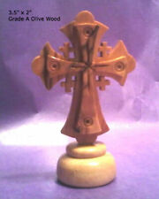 "Self-Standing Raised Jerusalem Cross from the Holy Land, 3"" x 2"", Olive Wood"