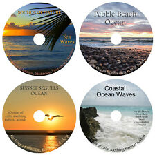 4 CDs:NATURE SOUNDS OCEAN & SEA WAVES COLLECTION:COASTAL PEBBLE BEACH SUNSET SEA