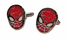 Marvel's SPIDERMAN Face Silvertone/Enamel CUFFLINKS