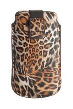 4-OK UP! Leopard Tasche Hülle Etui Case Schwarz für LG Optimus Speed 2X P990